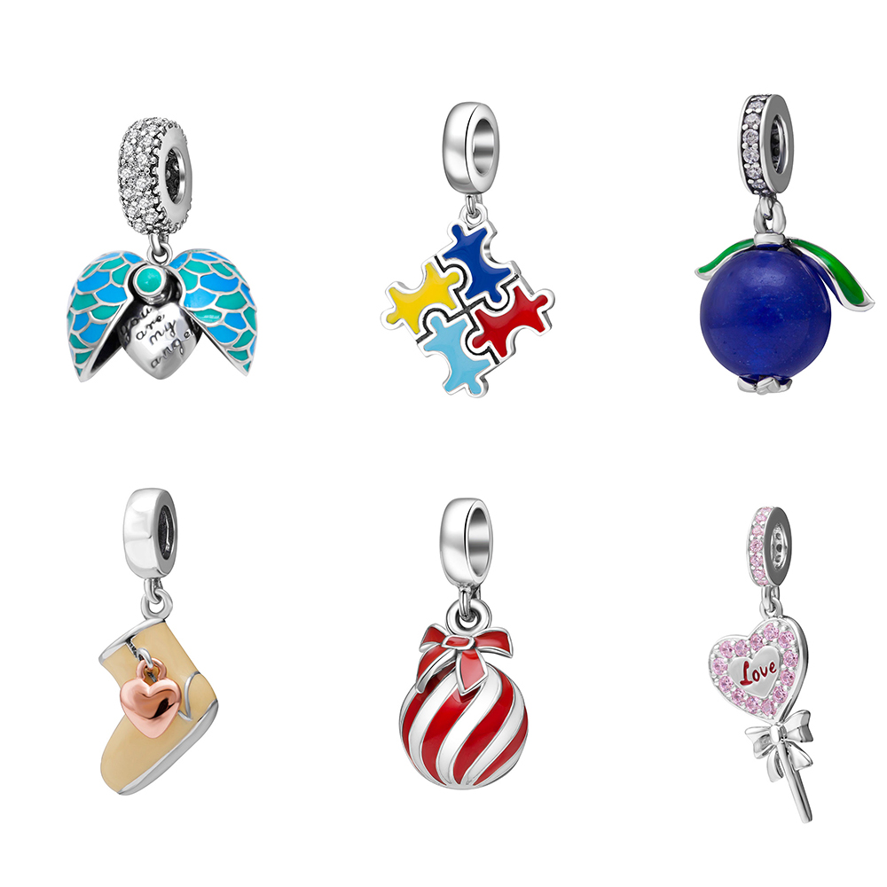 2018 new enamel pendant beads original 925 sterling silver charms Fit Pandora Bracelets women Fashion Jewelry DIY making