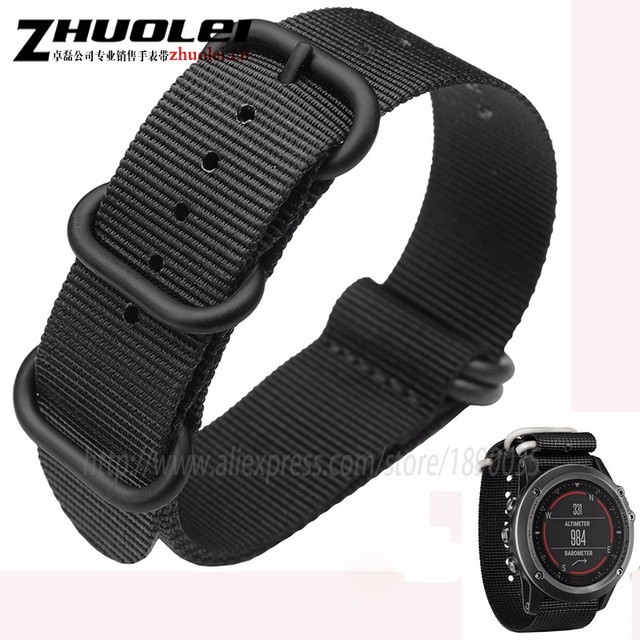 c7549a43ab3 26mm nylon pulseira fit garmin fenix 3 relógios faixa de relógio straps  preto