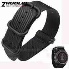 26mm nylon watchband fit garmin fenix 3 watches straps black| army green 5 rings Zulu watch band +2pcs free tools