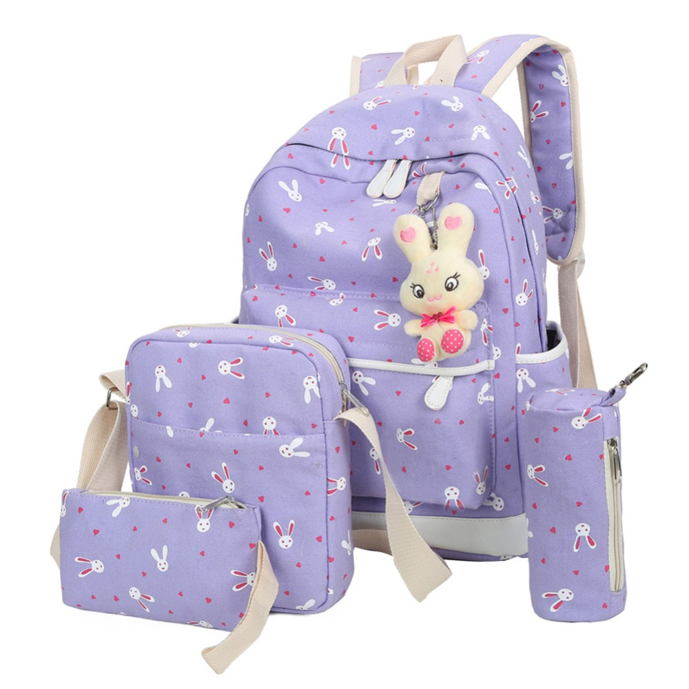 4pcs/sets Women Backpacks Cartoon Rabbit Printing Canvas Schoolbags For Teenage Girls Students Children Mochila Feminina #4