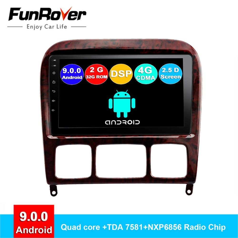 Lecteur multimédia dvd de voiture Funrover android 9.0 2.5D + IPS pour Mercedes Benz classe S S280 S320 S350 S400 S500 W220 W215 radio gps