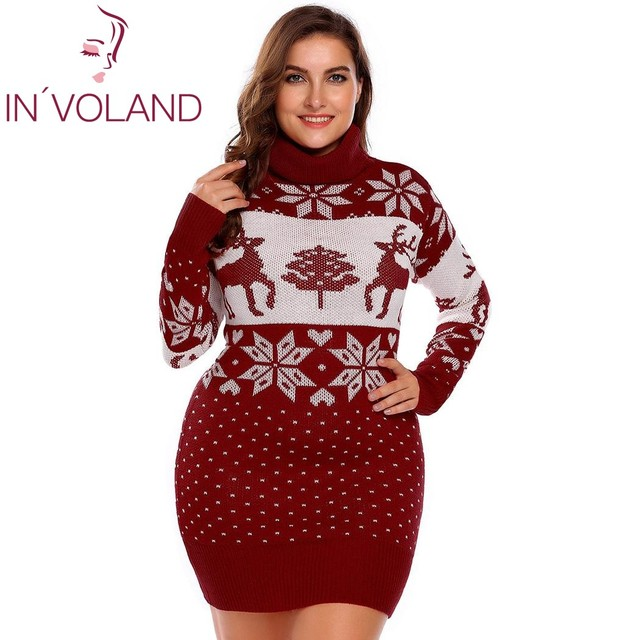 3b35d4fcec IN VOLAND Large Size Women Sweater Dress Autumn Winter Christmas Printed  Bodycon Slim Pencil Warm Big Dresses Plus Size L-4XL