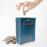 High Quality European Style Book Design Resin Money Saving Box Coin Bank Money Storage Birthday Gift