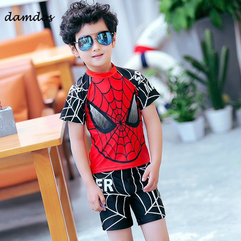 9aae8eb2ae312 Bikini 2018 Swimwear Boys Swimsuit Kids Swimming Tshirt Spider-Man Boys  Summer Clothes Bathing Suit Beach Dress Two-piece Suit