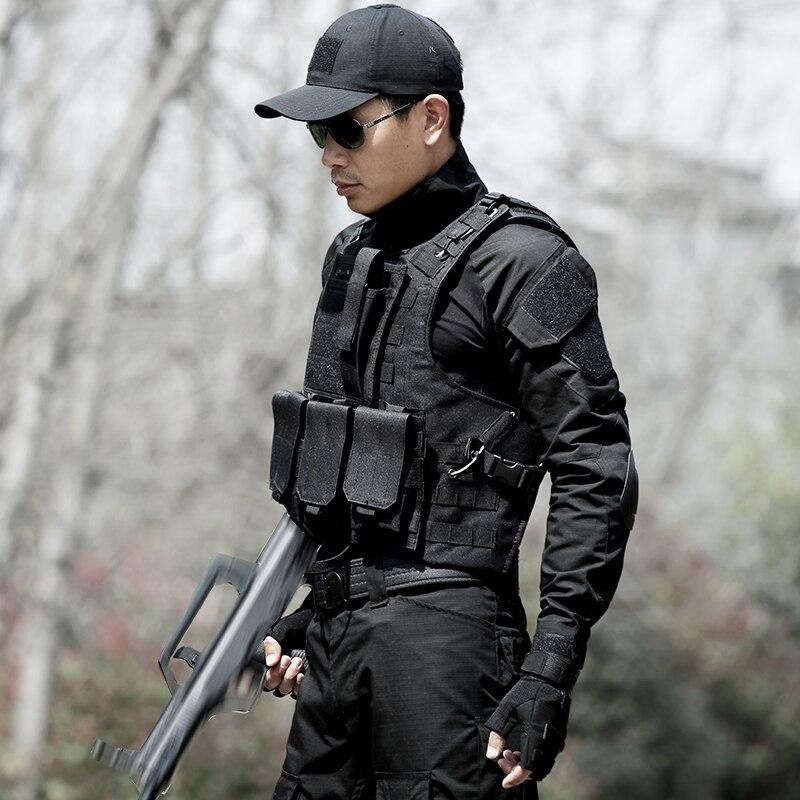 Chaleco de caza de camuflaje para hombre, equipo militar, Airsoft, uniforme militar, Chaleco de combate, Colete Tatico, Chaleco del ejército, negro - 4