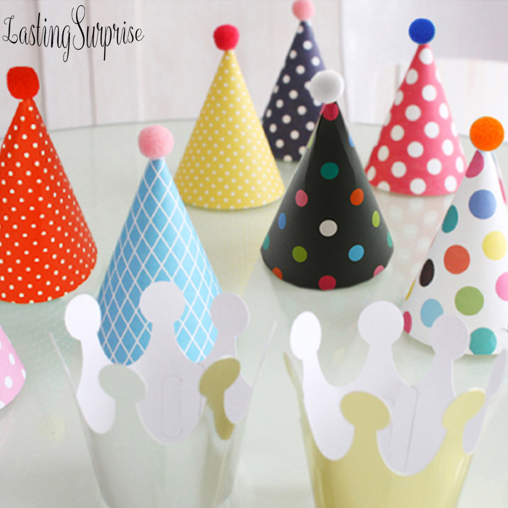 3pc/11pcs/set Happy Birthday Party Hats Polka Dot Baby Girl First Birthday Party Hats Pink Princess Crown Birthday Supplie
