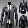 2014 New Arrival Sale Turn-down Collar Coat Brand Autumn Medium-long Double Breasted Slim Trench Male Men's Clothing Personality