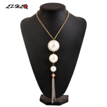 LZHLQ Trendy Big Imitation Pearl Pendant Necklaces Women Long Tassel Sweater Necklace Fashion Alloy Geometric Jewelry Statement