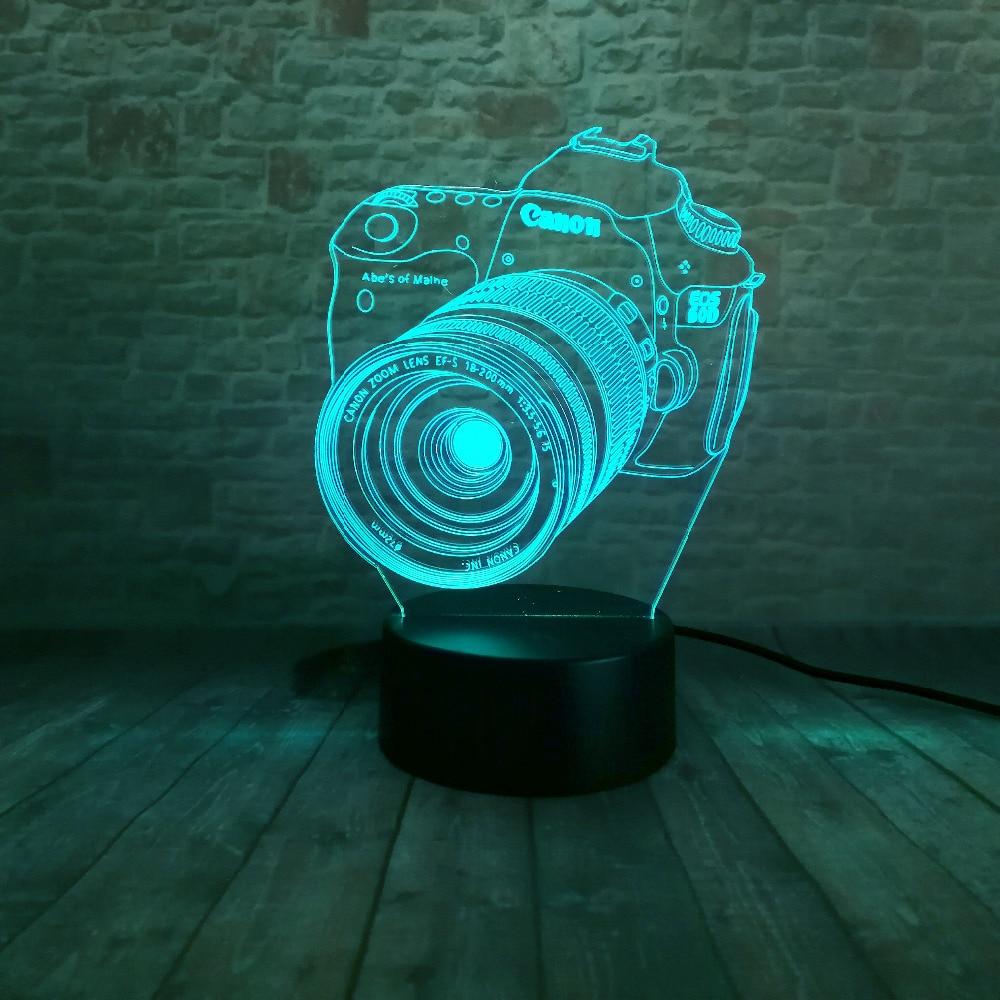 Ny 3D-kamera Touch Remote LED 7 Färgbyte Nattljus Illusion Barnbarn - Nattlampor - Foto 3