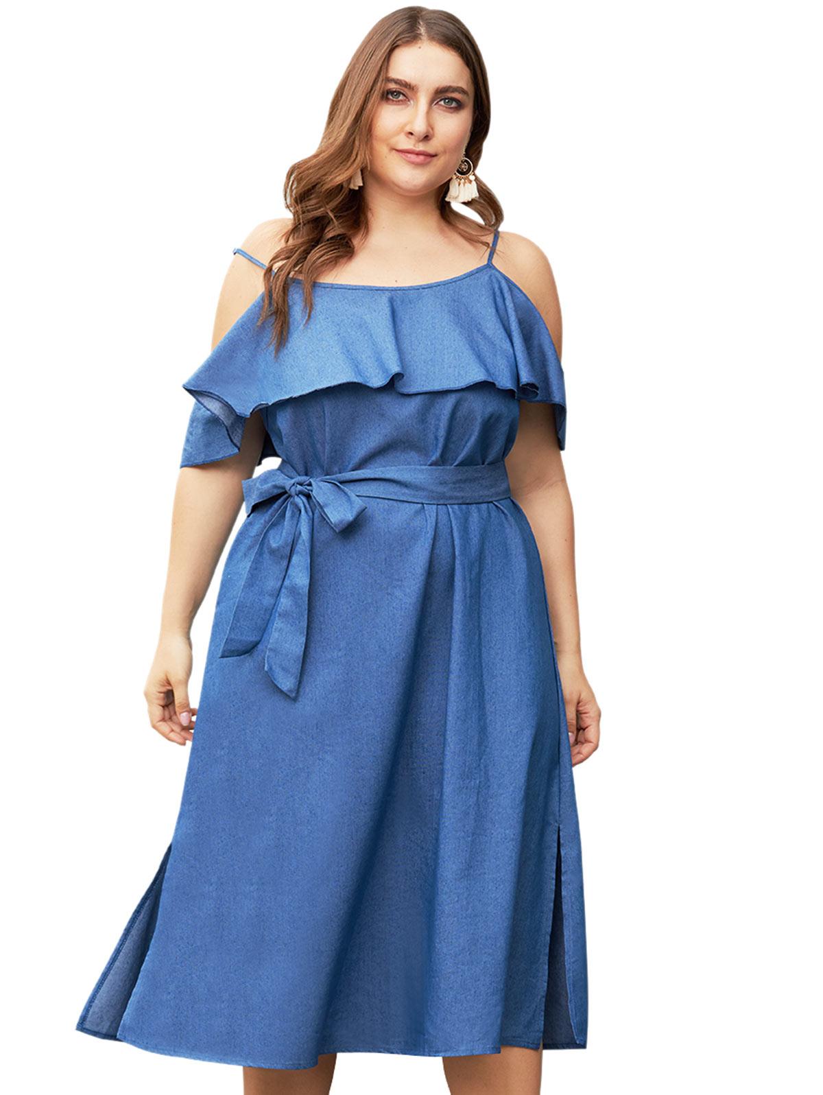 Wipalo Women Plus Size Ruffle Chambray Mid Calf Dress ...