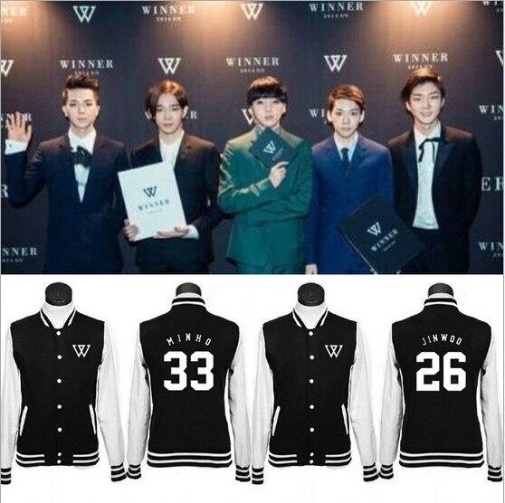 2016 nouveau kpop WINNER exo même paragraphe coréen baseball uniforme polaire veste manteau amoureux k-pop Hoodies k pop Sweatshirts hommes