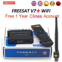 Satellite TV Receiver Decoder Freesat V7 HD DVB S2 V8 USB Wfi With 12 Months Europe