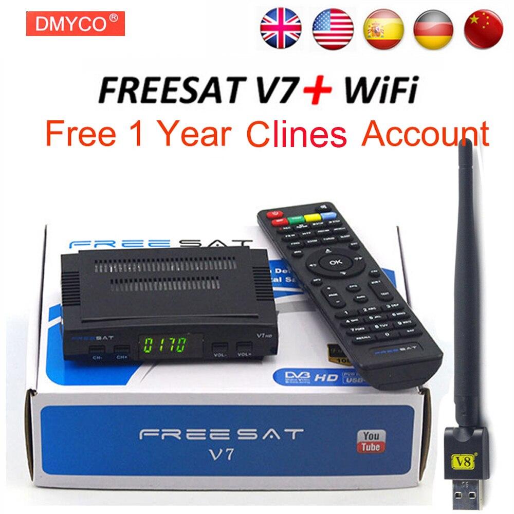 Freesat Satellitenfernsehen-empfänger decoder Freesat V7 HD DVB-S2 + USB Wfi mit 7 linien Europa C-linie konto unterstützung powervu rezeptor