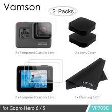 Vamson аксессуары для Gopro Hero7 6 5 Закаленное стекло протектор объектива Крышка объектива ЖК-экран Защитная пленка ткань для очистки VP709C