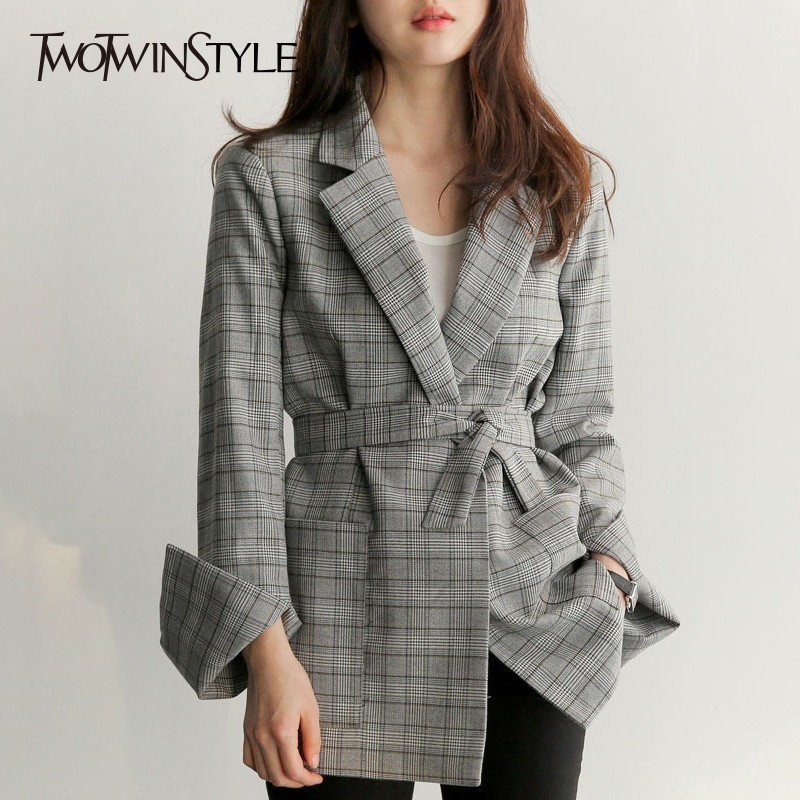 TWOTWINSTYLE Plaid Women's Blazer Sashes Bowknot  High Waist Long Sleeve Vintage Jacket For Female Plus Size Style Clothing 2018