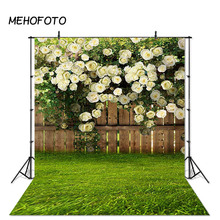 Spring Garden Photography Background Green Grass Nature Fence Flower Wedding Backdrop Photobooth Photo Studio Props