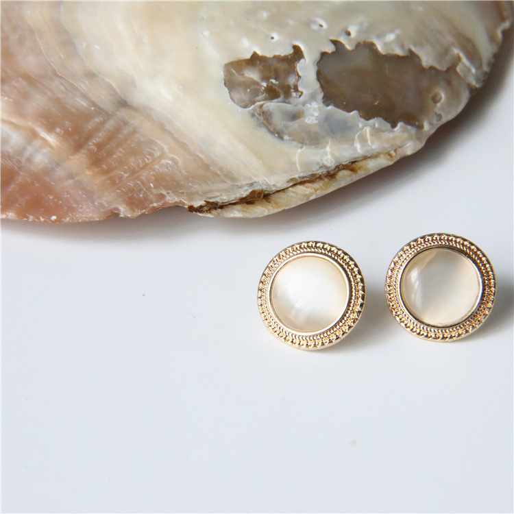 MENGJIQIAO 2019 Japan New Vintage Round Marble Opal Stone Big Stud Earrings For Women Fashion Temperament Simulated Pearl Brinco 4