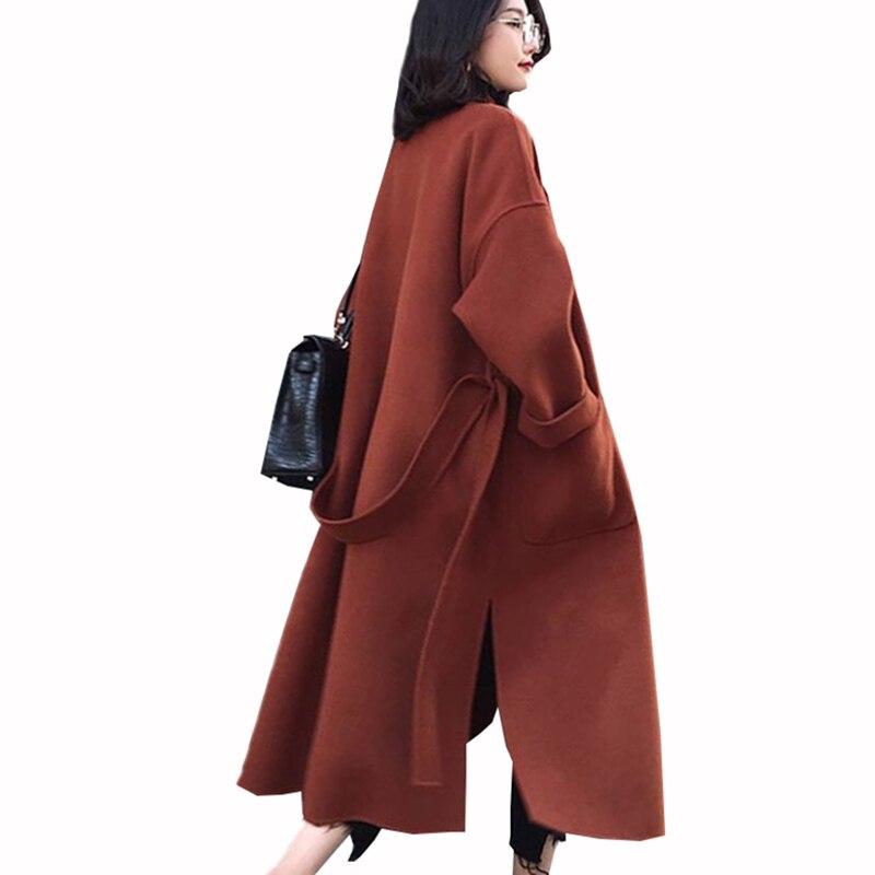 Vente chaude casaco feminino 2018 ROYAUME-UNI Femmes Plus La taille Automne Hiver Classique Laine Long Manteau Femelle Split Survêtement manteau femme ZS415