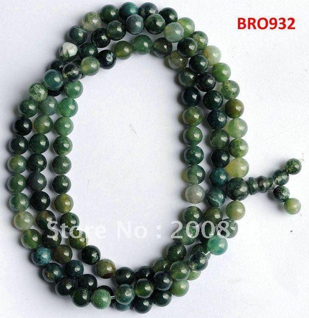 Bro932 Tibet 108 perlas naturales hierba verde ágata meditación Mala 6 mm moda de cuentas de piedra Natural de las muchachas del verano pulseras