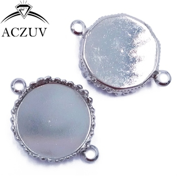 200pcs Rhodium Plated 15mm 20mm 25mm Necklace Bracelet Pendant Tray Bezel Blank Jewelry Link Connector Cabochon Setting DPL003