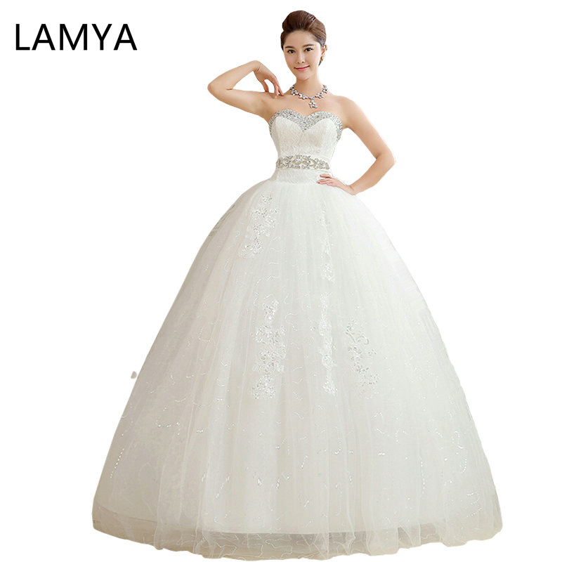 Customize Plus Size Crystal Wedding Dresses 2019 Women Crystal Vintage Ball Gown Luxury Lace Bridal Dress Luxury Bridal Robes