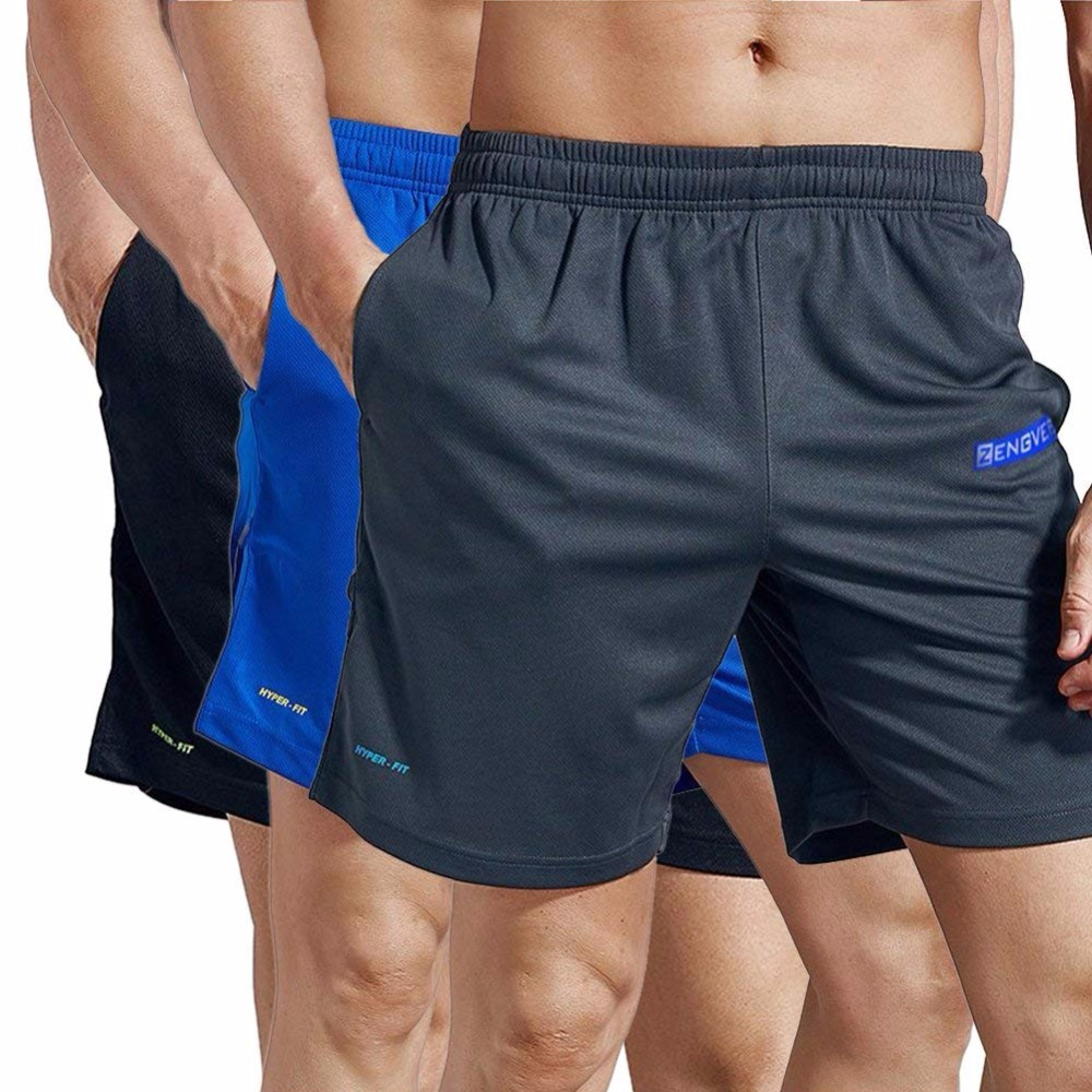 Xiami Leyuan USA Size Mens Workout GYM-Wear  Active Dry Fit Mesh Shorts With Pockets