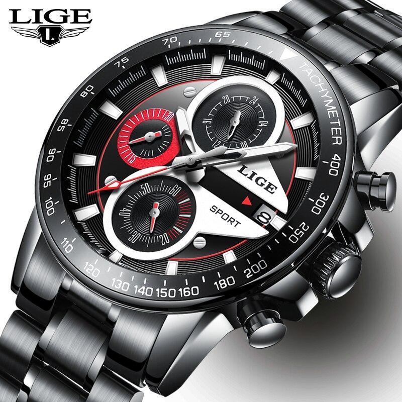 Lige mens 시계 비즈니스 패션 탑 럭셔리 브랜드 스포츠 쿼츠 시계 남성 캐주얼 방수 시계 relogio masculino + box-에서수정 시계부터 시계 의  그룹 1