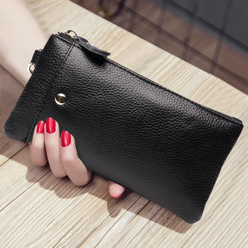 Women Hand Clutch Wallet Genuine Leather Female Long Wallet Zip Purse Strap Coin Phone Pocket Wristlet Evening Bag High Capacity