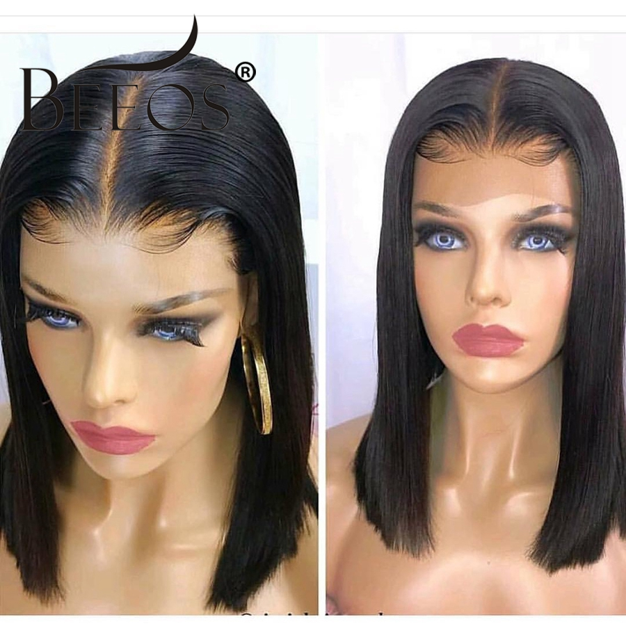 Beeos Fake Scalp Wig 13x6 Lace Front Invisible Knot Wig Straight Bob Wigs Pre Plucked Deep PartPeruvian Remy Hair