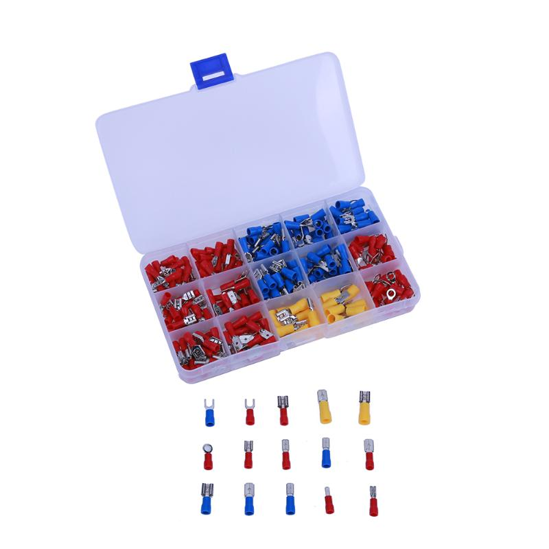 280pcs Female Male Wire Terminal Assortment Insulated Electrical Connector Fork U-type Set Terminals Connectors Assortment Kit 280pcs box 18 in 1 insulated terminals spade ring fork u type electrical crimp connector tube wire connector assortment kit