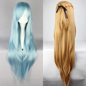 Image 1 - Save Art Online, термостойкий парик для косплея из длинных синих и коричневых волос, парик + шапочка для парика