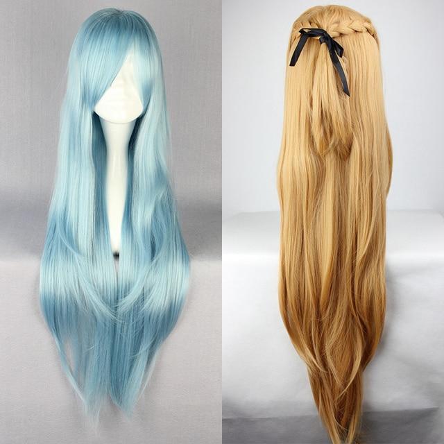 Save Art Online, термостойкий парик для косплея из длинных синих и коричневых волос, парик + шапочка для парика