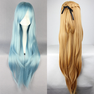 Image 1 - Sword Art Online Sao Asuna Yuuki Yuki Long Blue And Brown Heat Resistant Hair Cosplay Costume Wig + Free Wig Cap