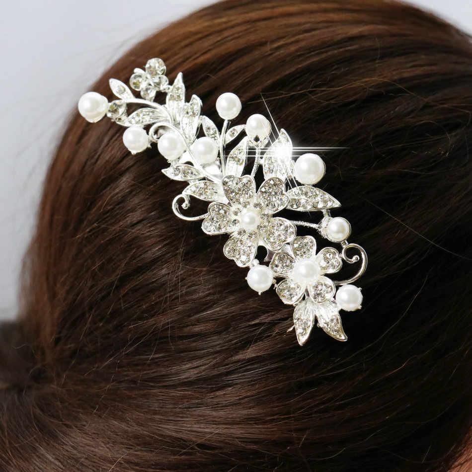 2019 цветок заколка для волос с кристаллами гребень для волос с листьями заколки для волос Новая мода вечерние ювелирные изделия из жемчуга для женщин аксессуары Свадебные украшения