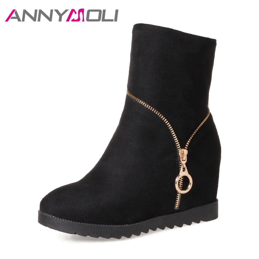 ANNYMOLI Botas para mujer Botas de tacón alto Botas a media pierna - Zapatos de mujer
