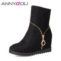ANNYMOLI Women Boots High Heels Mid Calf Boots Winter Platform Wedges Zipper Shoes Big Size 42