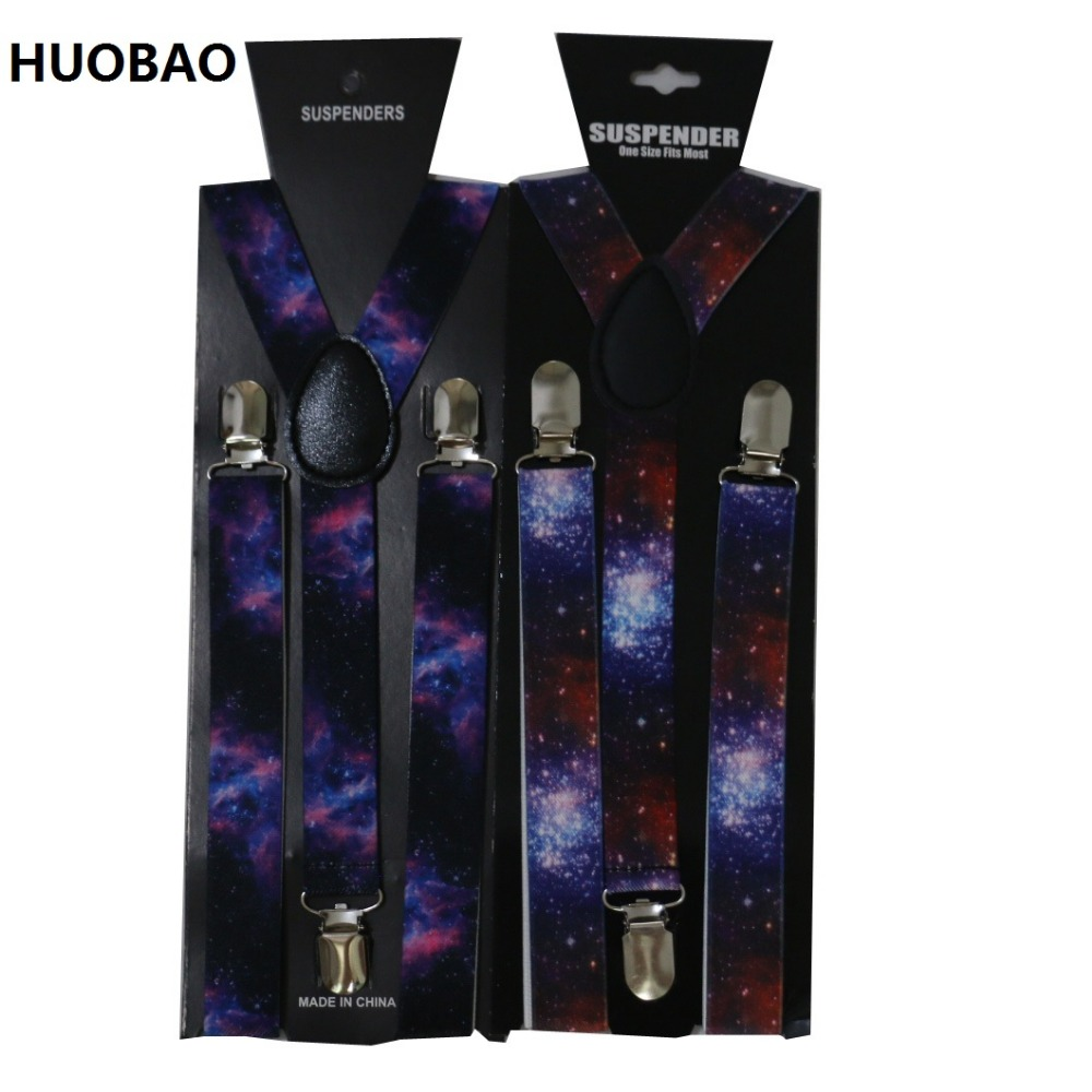 2019 New 2.5cm Wide Men's Adjustable Clip On Colorful Galaxy Suspenders For Mens Womens