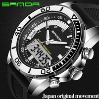 SANDA Luxury Brand Mens Sports Watches Dive Men Watches LED Military Watch Men Fashion Casual Electronics