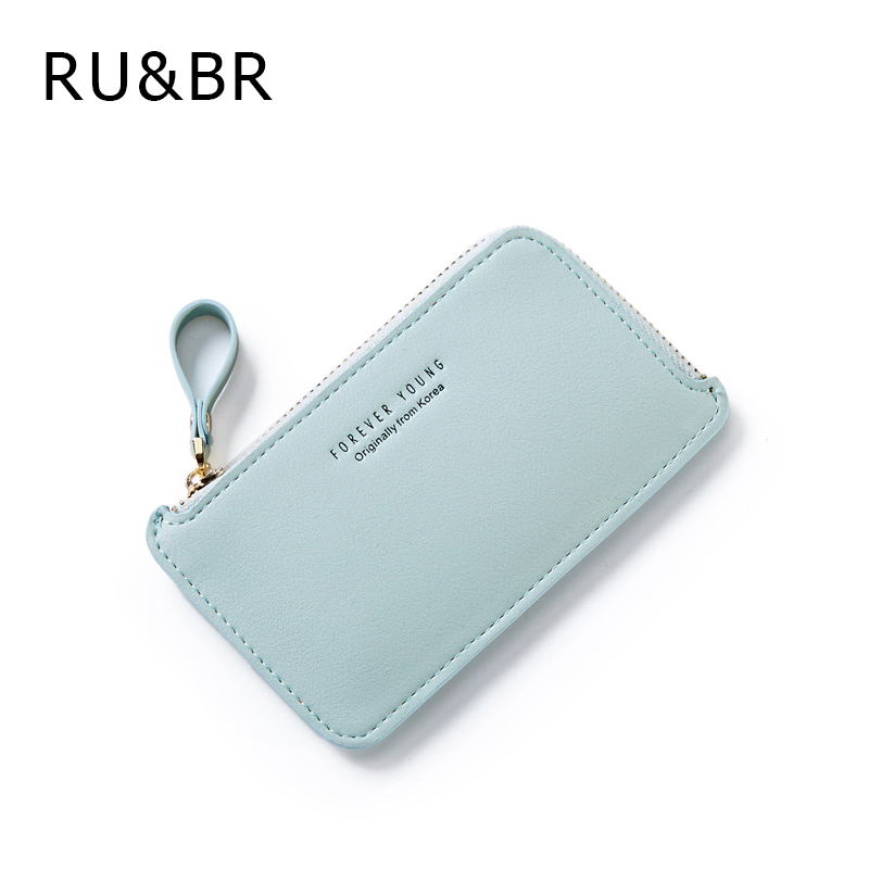RU&BR Fashion New Style Women Wallets Casual Solid Color Large Capacity Purse High Quality PU Leather Zipper Small Wallet factory outlets opening film ru ru tea sets italics kit logo new custom large favorably