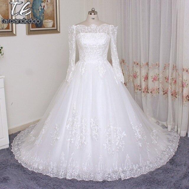 От плеча плюс Размеры одежда с длинным рукавом свадебное платье Кружево бальные платья белый/слоновая кость Свадебное платье кнопка назад