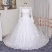 Off The Shoulder Plus Size Long Sleeves Wedding Dress Lace Ball Gowns White Ivory Bridal Dress