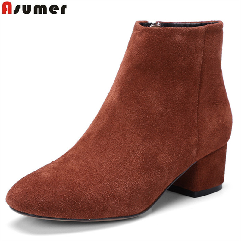 Asumer fashion cow suede women boots square toe zipper ladies autumn winter boots black gray Army green ankle boots asumer fashion women boots pointed toe zipper flock autumn winter ladies boots black beige gray ankle boots big size 34 44