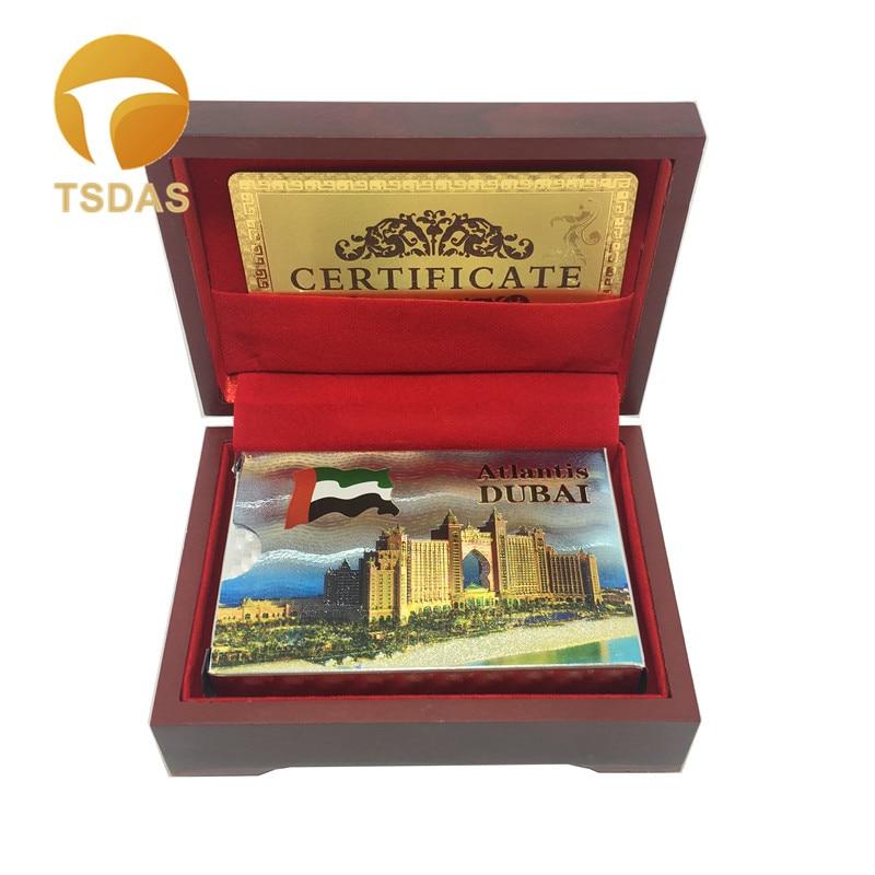 Nouveau 24 k Or Carte À Jouer Pont Collection Dubaï Hôtel Feuille D'or Plaqué Poker Cartes Avec Argent et D'or Plaqué