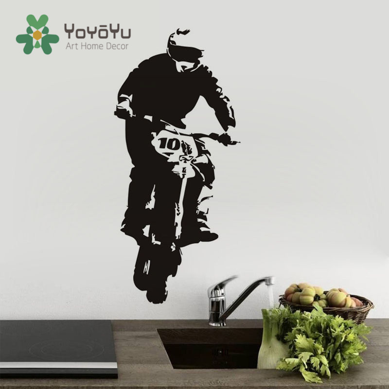 Removable Sports Motorbike Living Room Vinyl Wall Decal Dirt Bike Rider Mural Room Decor Sticker Art Boys Bedroom Decor Ny-17 Home Decor Back To Search Resultshome & Garden