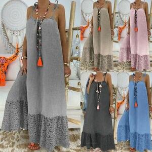 Женское длинное платье с принтом без рукавов и V-образным вырезом