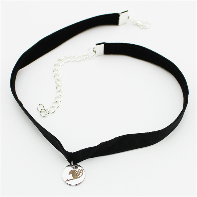 Fairy Tail Leather Titanium Steel Pendant Choker Necklace