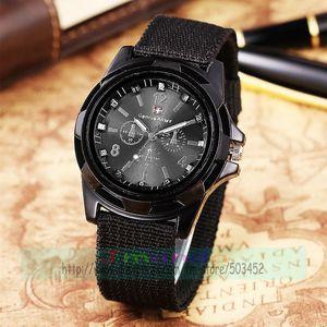 Image 1 - 100pcs/lot Fashion Gemius Army Design Men Watch Charming Sport Quartz nylon Watch Wrap Nylon Military Watches wholesale clock