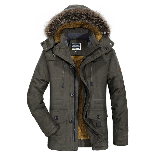 Col de fourrure parka hommes AFS JEEP D hiver vestes pour hommes haute  qualité marque caf8d42df061