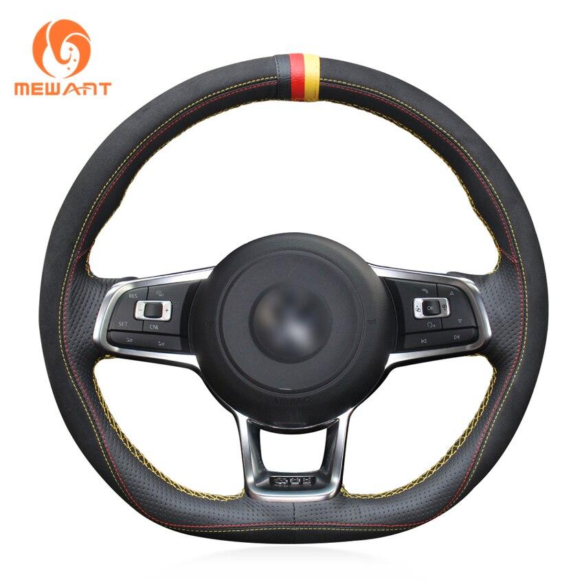 MEWANT noir daim bricolage main coudre couverture de volant de voiture pour Volkswagen VW Golf 7 GTI Golf R MK7 VW Polo GTI Scirocco 2015 2016 - 3