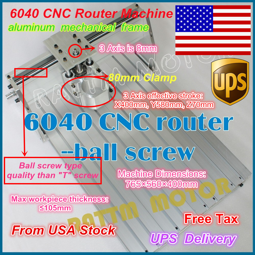 From USA /free shipping 6040 CNC Router Engraver Engraving Milling Machine frame Kit Screw 80mm Aluminum Clamp for DIY user aluminum lathe body cnc 6040 router 1605 ball screw cnc frame kit diy cnc engraving machine